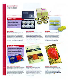 Olive Magazine article stating Inverawe Smoked Salmon was voted best organic
