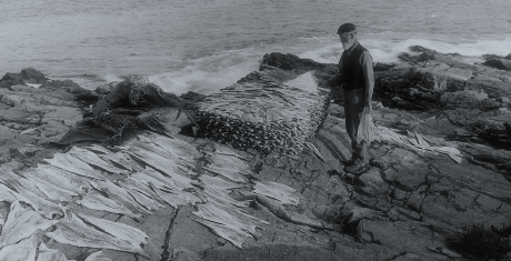 Vintage image of Scottish smoked salmon in the making