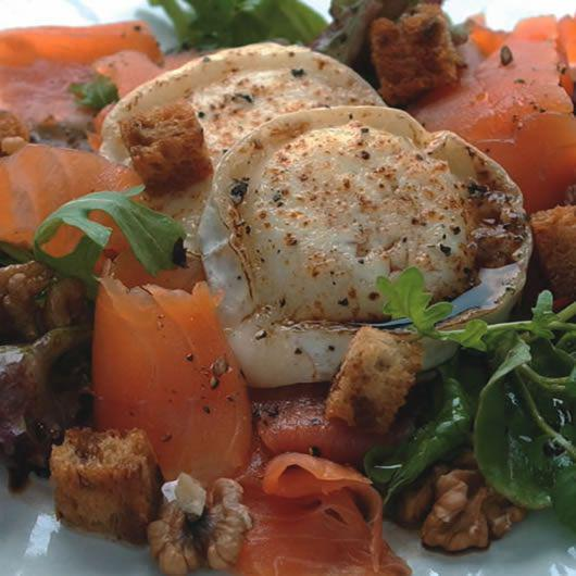 Smoked Salmon, Walnut & Goats Cheese Salad