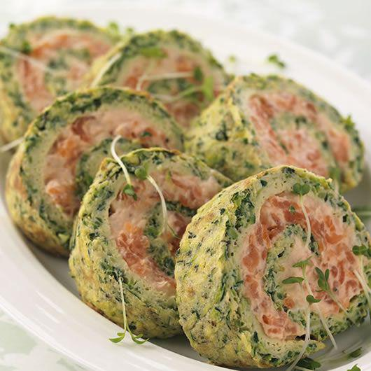 Courgette Herb & Smoked Salmon Roulade