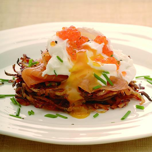Beetroot Rosti with smoked salmon and a poached egg