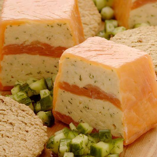 Smoked Salmon and Halibut Terrine with cucumber relish