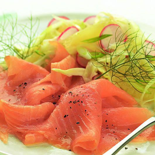 Smoked Salmon with Fennel, Lemon and Radish Salad