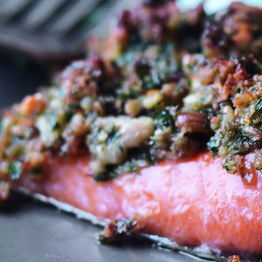 Walnut & Herb Crusted Par-Smoked Trout Cutlets