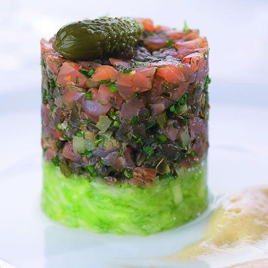 Smoked Salmon Tartare with Wasabi Sabayon
